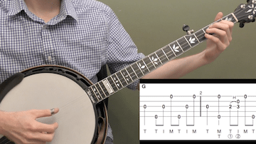 Down The Neck Rolling Backup (Key Of G) Beginner Banjo