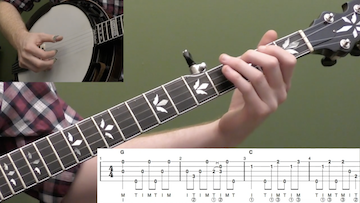 Down The Neck Rolling Backup (Key Of G) Intermediate Banjo